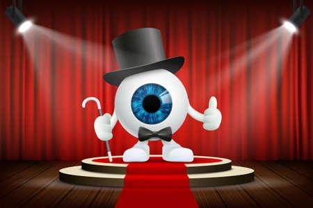 Human eye character in a hat stands on the stage. Vector illustration.