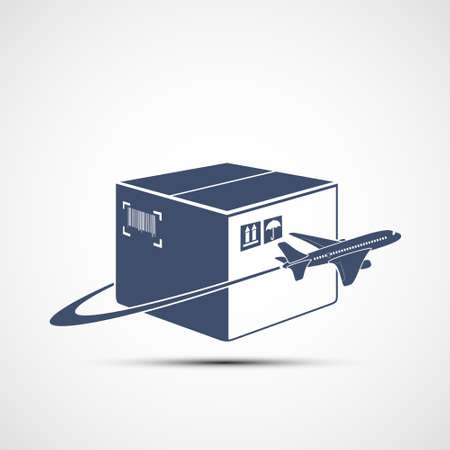 Plane flies around the cardboard box. Delivery of cargo around the world. Icon isolated on white background. Vector illustration.