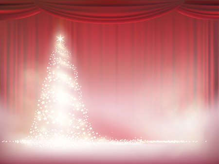 Christmas tree with lights on a background of red curtain. Vector new year illustration with copy space.