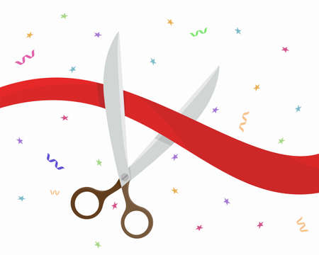 Scissors cut the red ribbon. Grand opening ceremony. Vector illustration