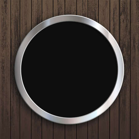 Round metal frame hanging on a wooden background. Vector illustration