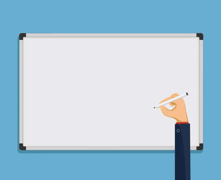Human hand writes on a whiteboard. Blank template for copy space. Vector illustration.