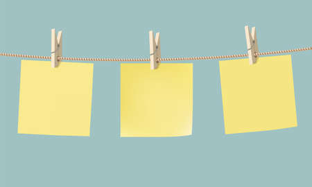 Yellow paper stickers hang on a rope with a clothespin. Blank templates for copy space. Vector illustration
