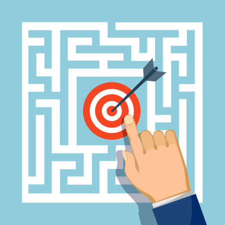 Target with an arrow inside the maze. Business success. Vector illustration