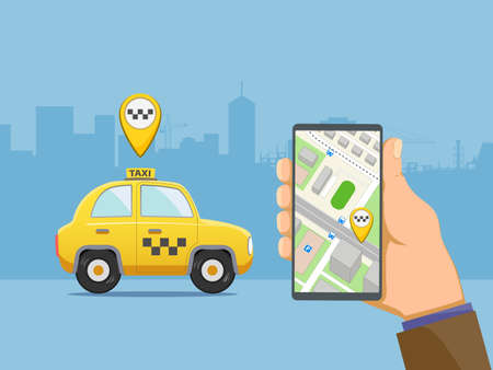 Man is holding a phone device with the application for a taxi. Vector illustration 向量圖像