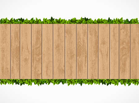 Wooden fence with green leaves behind. Banner isolated on white background. Vector illustration.