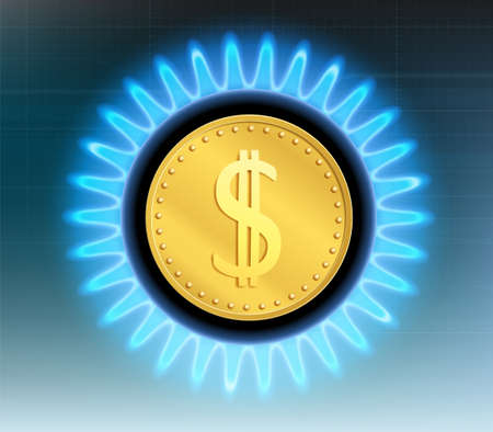 Dollar currency coin inside a blue flame stove. Vector illustration. 向量圖像