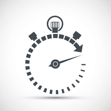 Sports stopwatch icon with arrow. Logo isolated on white background. Vector illustration.