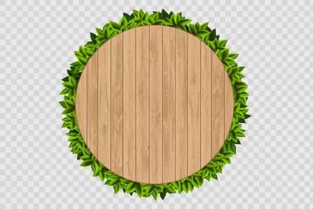 Wooden round background with green leaves behind. Banner isolated on a transparent background. Vector template.