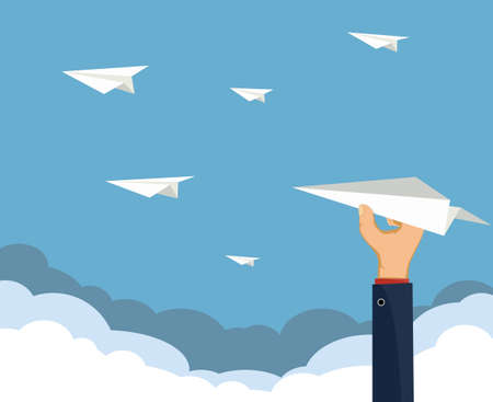 Human hand holds a paper airplane. Business success and startup concept. Vector illustration 向量圖像