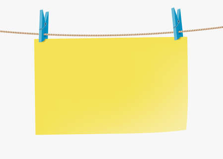 Yellow paper sticky note hanging on a rope with a clothespins. Template isolated on a white background. Vector background with copy space