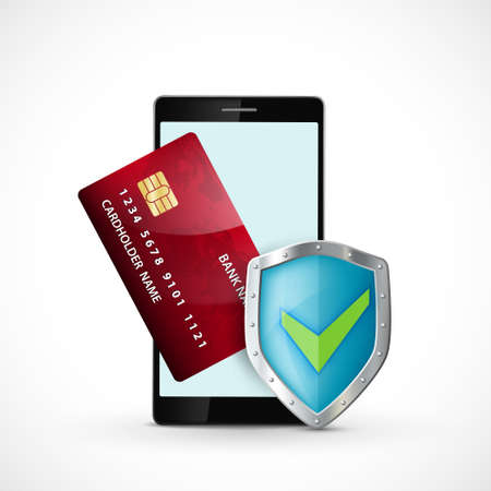 Smartphone with credit card and shield. Security of money transfers and payments. Icon isolated on white background. Vector illustration.