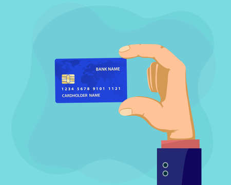 Man holding plastic credit card in hand. Vector illustration