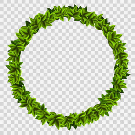 Ring garland of green leaves. Frame isolated on a transparent background. Vector template.