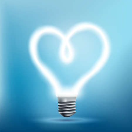 Glowing neon light bulb in the shape of a heart. Design element for Valentine's Day. Vector illustration.