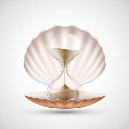 Icon hourglass in seashell. Isolated on white background. Vector illustration.