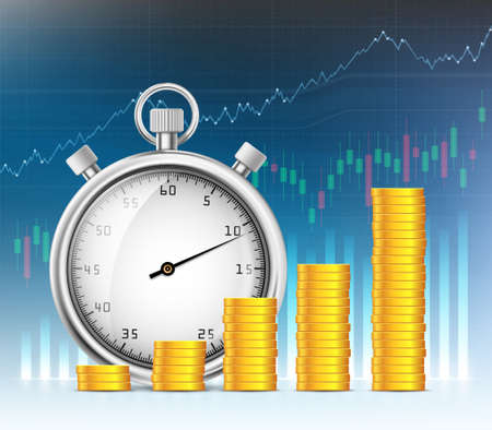 Stopwatch and stacks of gold coins on the background of financial charts and graphs. Vector illustration. 向量圖像