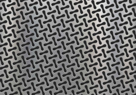 Polished metal plate with geometric pattern and holes. Textured background. Vector illustration