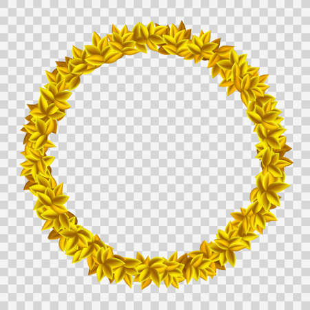 Golden wreath with yellow leaves. Ring frame isolated on a transparent background. Vector template.