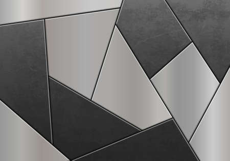 Metal mosaic made of steel plates. Textured background. Geometric pattern. Vector illustration 向量圖像