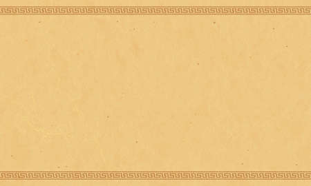 Antique papyrus paper with Greek ornaments. Empty beige marble background. Vector illustration