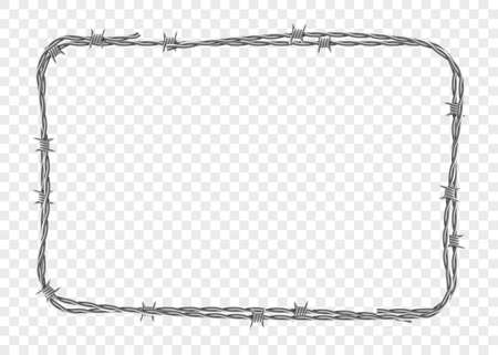 Frame made of metal barbed wire. Template isolated on a transparent background. Vector illustration.