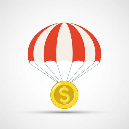 Gold dollar coin is falling by parachute. Icon isolated on white background. Vector illustration. Stock Illustratie