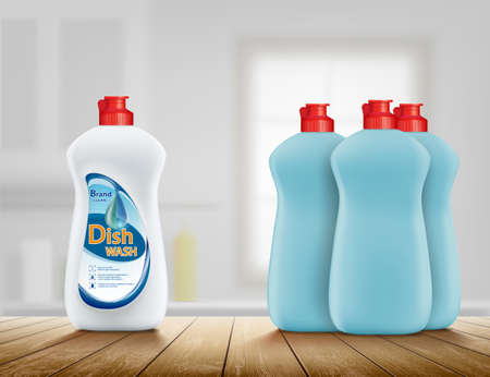 Dishwashing liquid soap in a plastic bottle. Comparison of two detergents for dishes. Vector illustration.