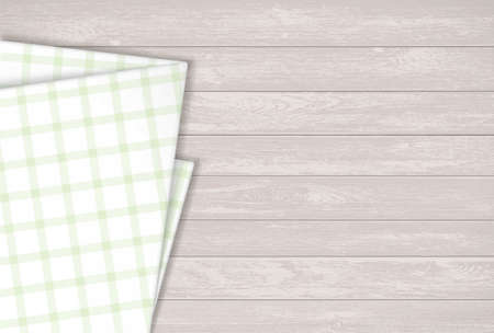 Kitchen napkin on a wooden table. Background for the menu. Vector illustration