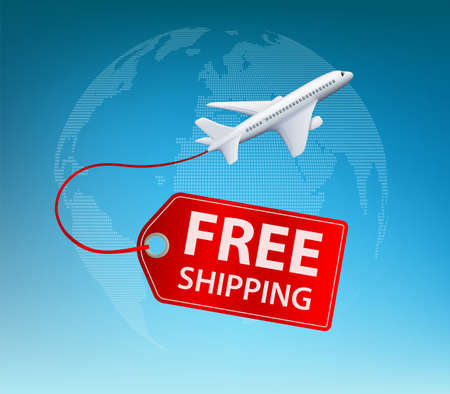 Airplane with label free shipping. Vector illustration.