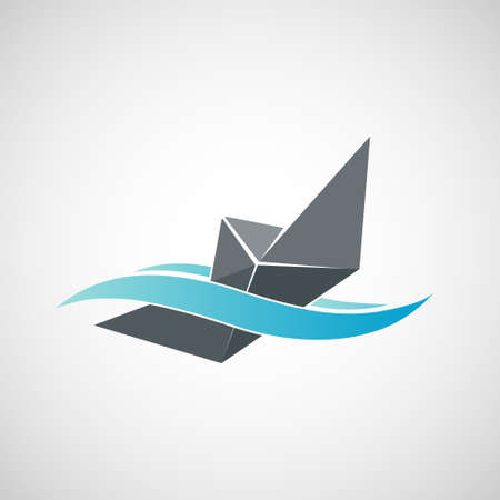 Sinking paper ship icon. Isolated on white background. Vector illustration. Stock Illustratie