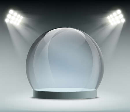 Glass transparent empty dome illuminated by spotlights. Vector template
