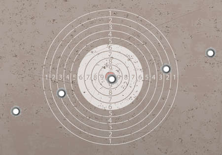 Target in a shooting range with bullet holes. Vector illustration Stock Illustratie