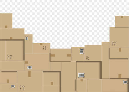Cardboard boxes stacked in a pile. Warehouse logistics and cargo delivery. Isolated on transparent background. Vector illustration. Stock Illustratie