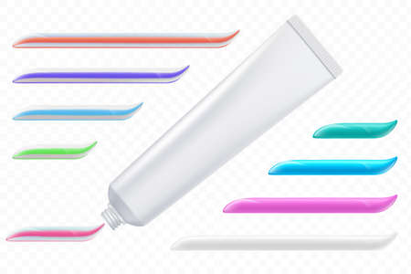 Tube with a set of colored toothpaste. Template isolated on a transparent background. Vector illustration.