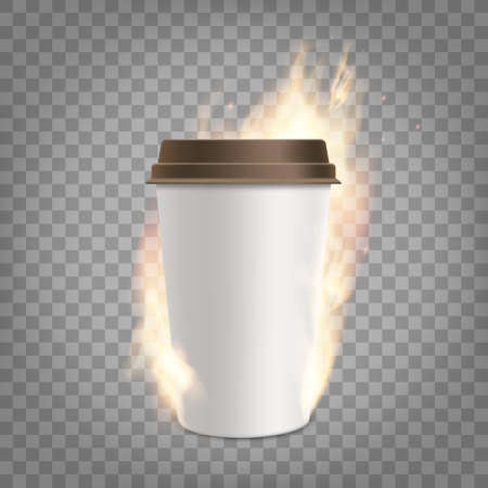 Coffee paper cup with fresh coffee is on fire. Template isolated on a transparent background. Vector illustration