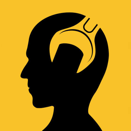 Silhouette human head with wrench inside. Vector illustration. Stock Illustratie