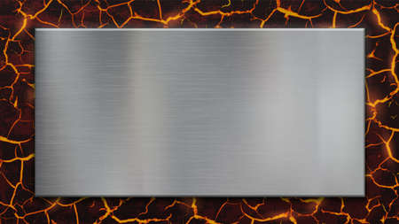 Metal blank plate on molten lava background. Vector template.