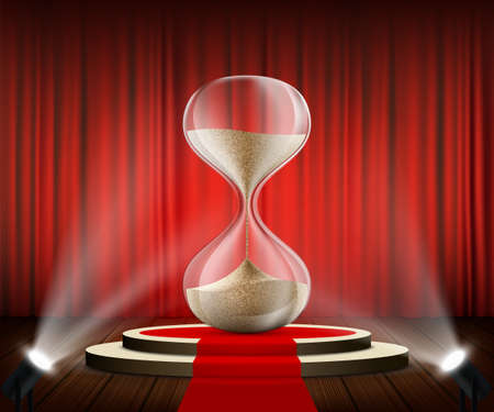 Hourglass on a round podium against the background of a red curtain. Business deadline and countdown. Vector illustration Stock Illustratie
