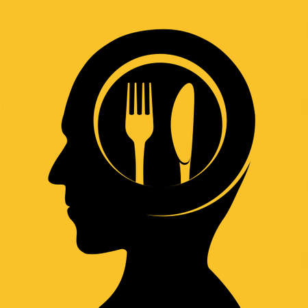 Plate with fork and knife on the background of a human head. Diet and gluttony concept. Vector illustration. Stock Illustratie