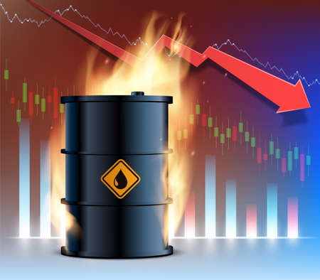 Burning barrel of oil against the backdrop of a declining financial graph. Crisis in the economy and business. Vector illustration.
