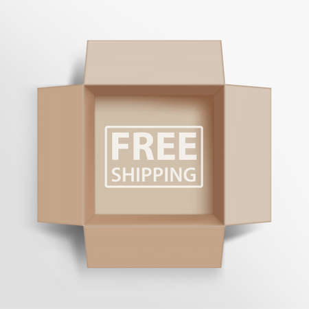 Opened cardboard box with an inscription Free Shipping. Vector illustration.