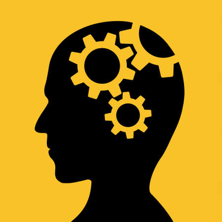Icon human head with gears inside. Vector illustration
