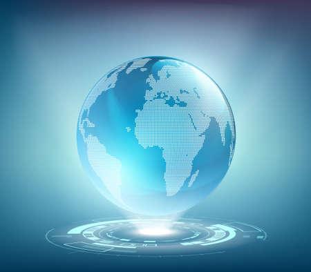 Cloud computing concept. Wireless technologies. Futuristic hologram planet earth. Vector illustration.