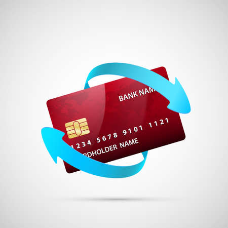 Credit card with arrows around. Cashback loyalty program. Refund money service. Icon isolated on white background. Vector illustration Stock Illustratie