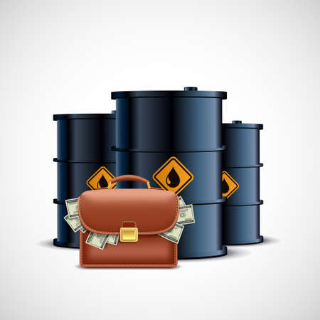 Briefcase with dollar paper currencies on the background of oil barrels. Vector illustration.