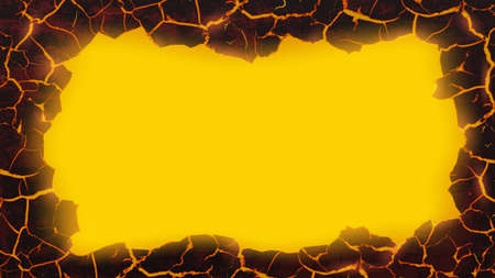 Red texture of molten lava. Template for copy space. Vector background.