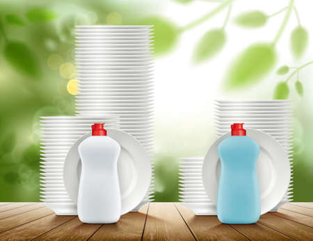 Two comparable detergent bottles with plates. Vector illustration. Stock Illustratie