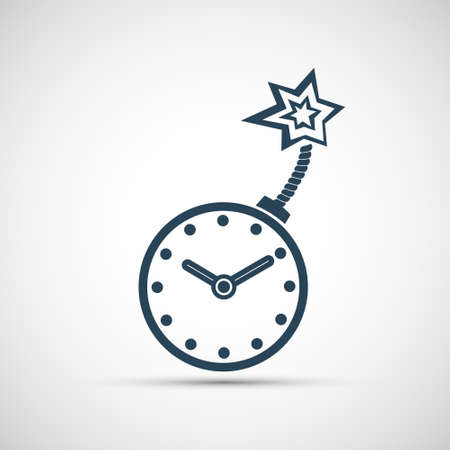 Clock is like a bomb with a wick. Icon isolated on a white background. Vector illustration