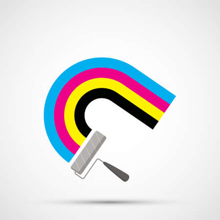 Paint roller draws a rainbow in CMYK ink. Color pigments icon. Isolated on white background. Vector illustration Stock Illustratie